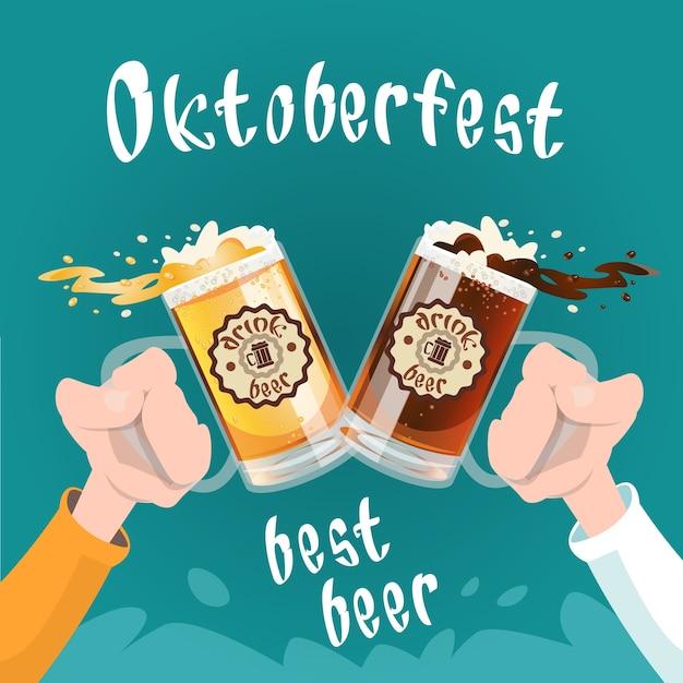 Hand halten bierglas becher oktoberfest festival banner Premium Vektoren