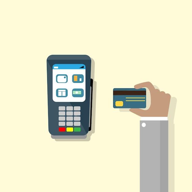 Hand halten kreditkarte pos terminal cash machine Premium Vektoren