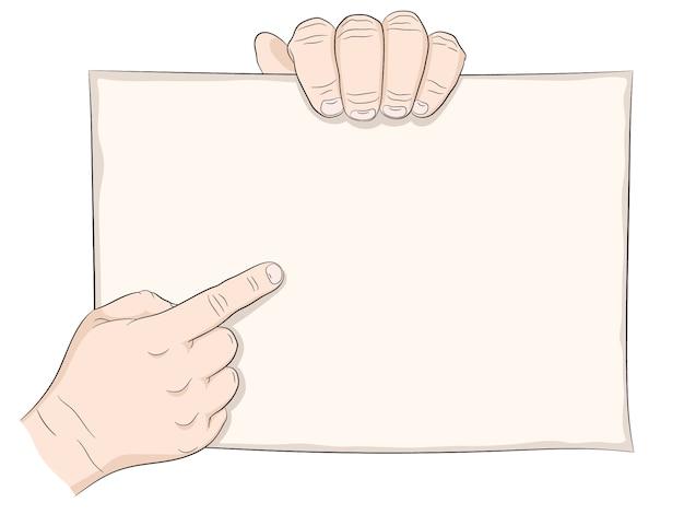 Hand halten poster oder plakat. Premium Vektoren
