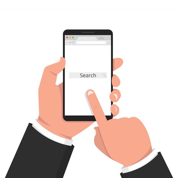 Hand halten smartphone. öffnen sie einen leeren browser Premium Vektoren