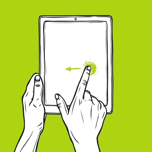 Hand halten tablet Kostenlosen Vektoren