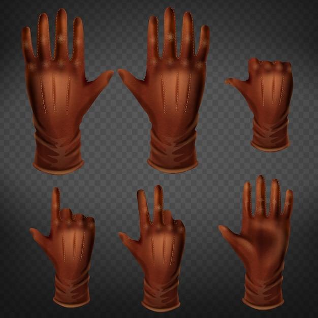 Hand in lederhandschuhgesten in den verschiedenen positionen stellten lokalisiert auf transparentem hintergrund ein. Kostenlosen Vektoren