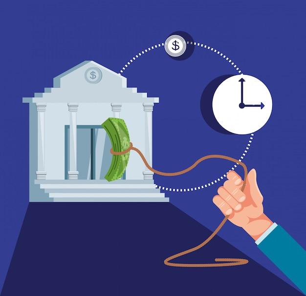 Hand mit bankgebäude und eingestellter ikonenwirtschaftsfinanzierung Premium Vektoren