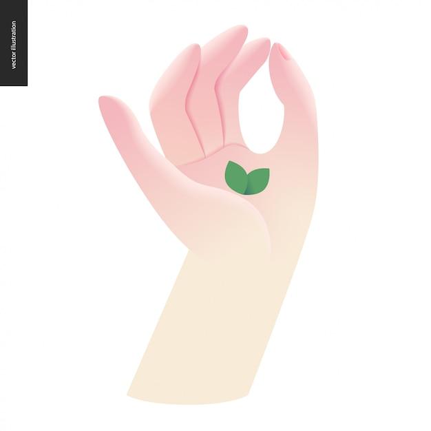 Hand mit blatt. zeichensprache Premium Vektoren