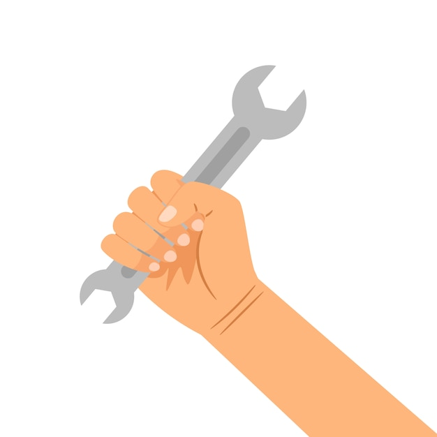 Hand mit dem schlüssel getrennt auf weiß Premium Vektoren