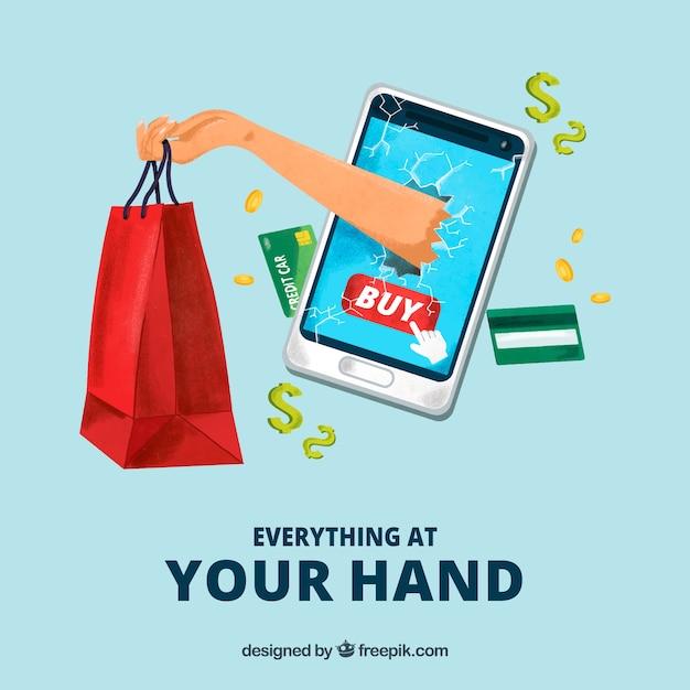 Hand mit einkaufstasche aus dem bildschirm des telefons Kostenlosen Vektoren