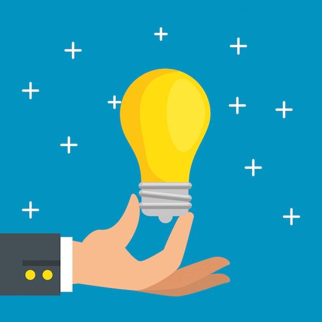Hand mit glühbirnen-symbol Kostenlosen Vektoren
