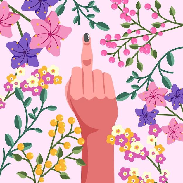 Hand mit lackiertem nagel zeigt mittelfinger Kostenlosen Vektoren