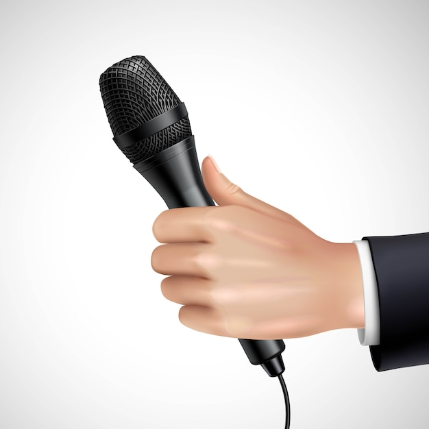 Hand mit mikrofon Kostenlosen Vektoren