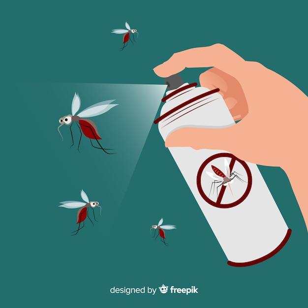 Hand mit mückenspray Kostenlosen Vektoren