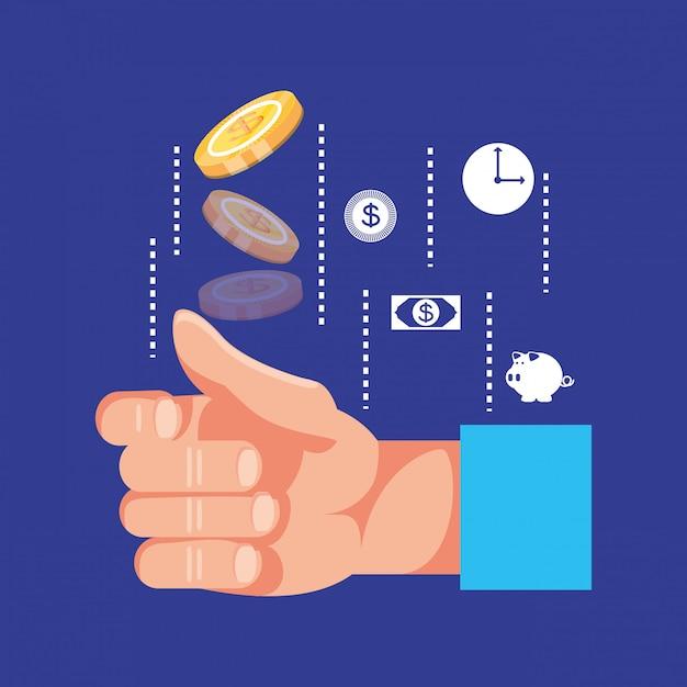Hand mit münzendollar und eingestellter ikonenwirtschaftsfinanzierung Premium Vektoren