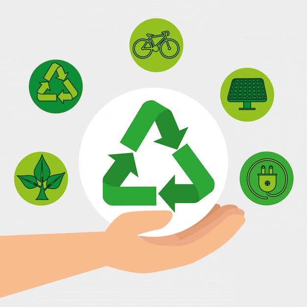 Hand mit ökologie bereiten und erhaltungselement auf Premium Vektoren