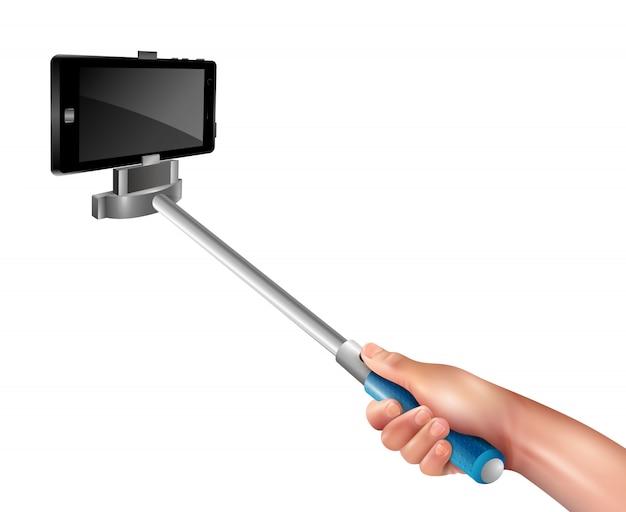 Hand mit selfie-stick Kostenlosen Vektoren