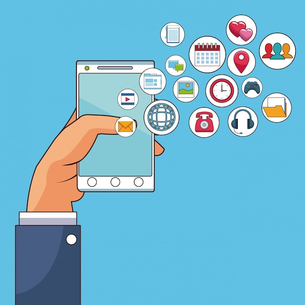 Hand mit smartphone Premium Vektoren