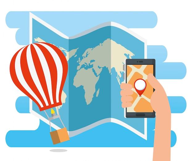 Hand mit smartphoneadressenstandort und -luftballon Kostenlosen Vektoren