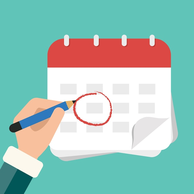 Hand mit stiftmarkenkalender Kostenlosen Vektoren