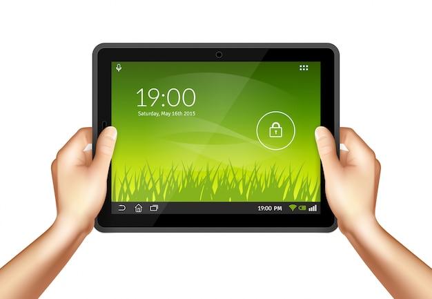 Hand mit tablette Kostenlosen Vektoren