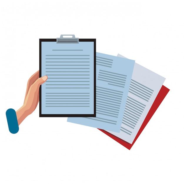 Hand mit zwischenablage und dokumenten Premium Vektoren