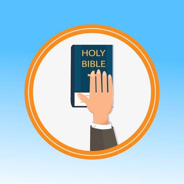 Hand, palm auf die bibel Premium Vektoren