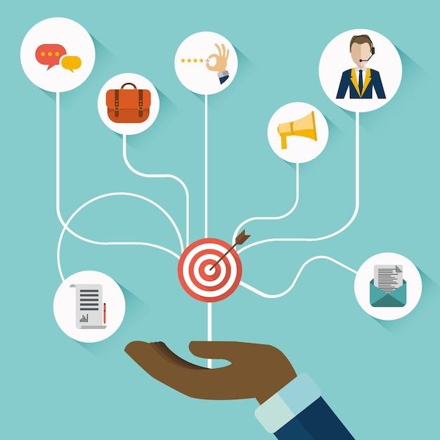 Hand präsentiert customer relationship management Kostenlosen Vektoren