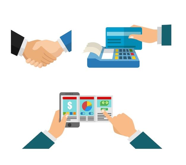 Hand schütteln und die rechnung im geschäft bezahlen Premium Vektoren