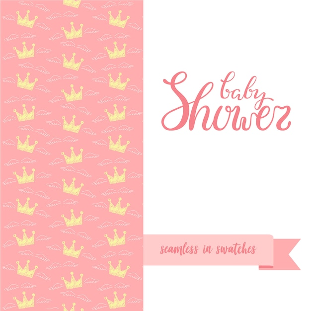 Hand skizzierte babypartyplakat mit nahtlosem muster. Premium Vektoren