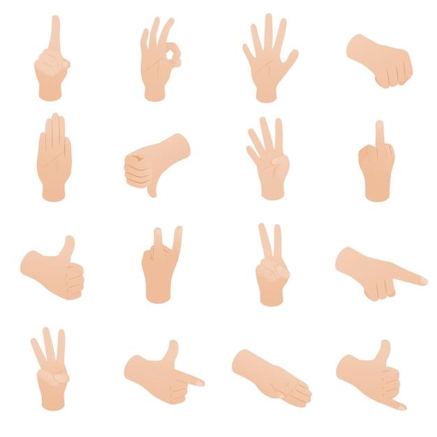 Hand stellte in die isometrische art 3d ein, die auf weißem hintergrund lokalisiert wurde Premium Vektoren