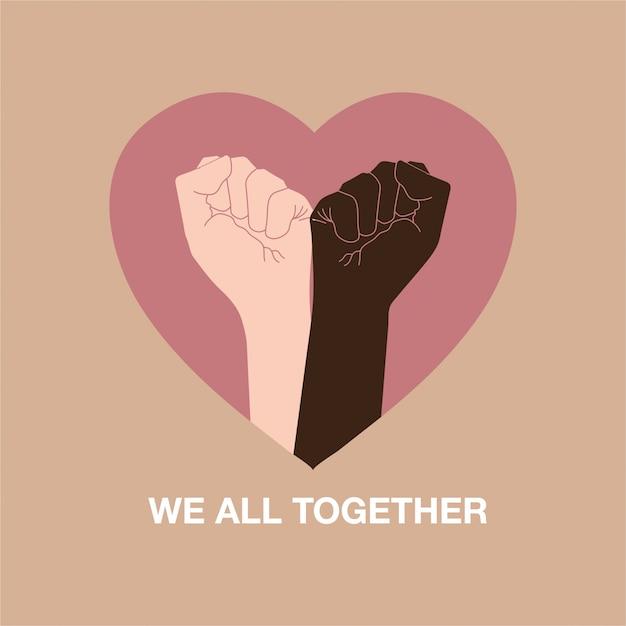 Hand symbol für schwarze leben materie protest, um gewalt gegen schwarze menschen zusammen mit herzform, formulierung zu stoppen Premium Vektoren