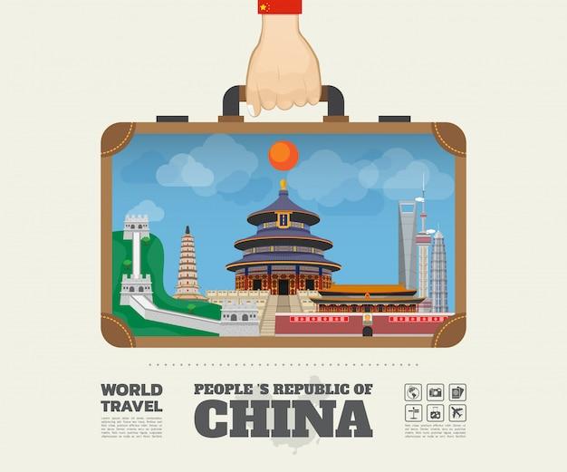 Hand tragende porzellanmarkstein-globale reise und reise infographic-tasche. Premium Vektoren