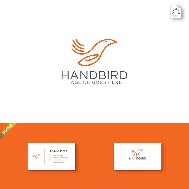 Hand vogel logo vorlage Premium Vektoren