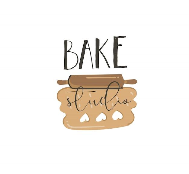Hand zeichnen abstrakte moderne karikatur kochzeit spaß illustrationen zeichen schriftzug logo design mit aufgerollten kekse teig und back studio handgeschriebene kalligraphie isoliert auf weißem hintergrund Premium Vektoren