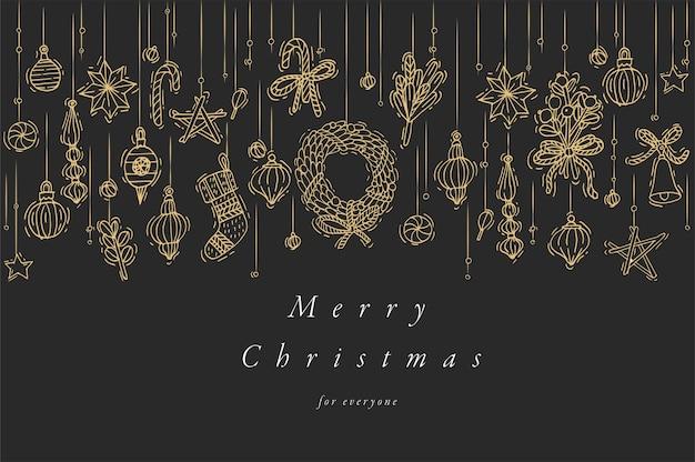Hand zeichnen design für weihnachtsgrußkarte bunte farbe. typografie und symbol für weihnachtshintergrund, banner oder poster und andere ausdrucke. designelemente der winterferien. Premium Vektoren