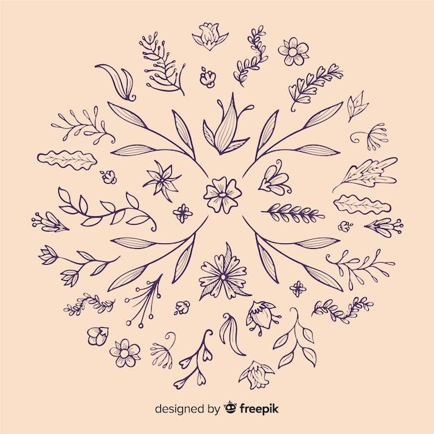 Hand zeichnen florale dekorationselemente Kostenlosen Vektoren