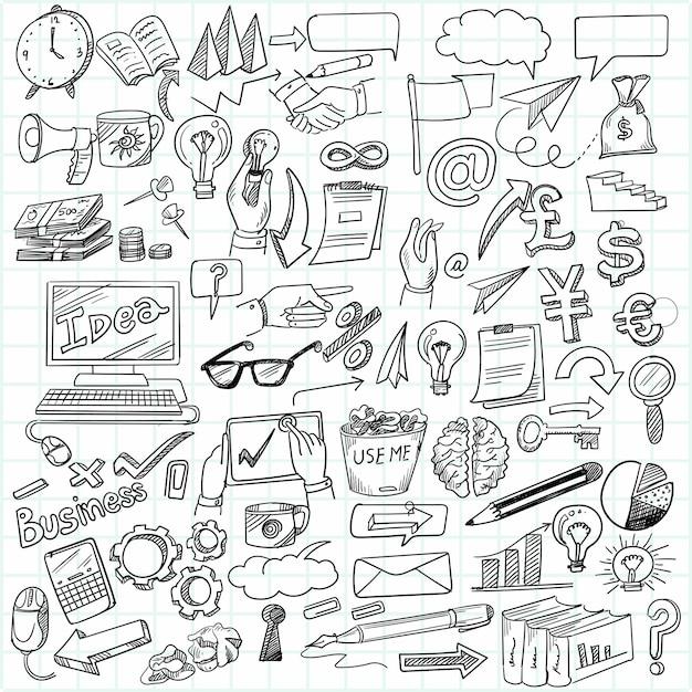 Hand zeichnen geschäftsidee kritzeleien skizze design Kostenlosen Vektoren