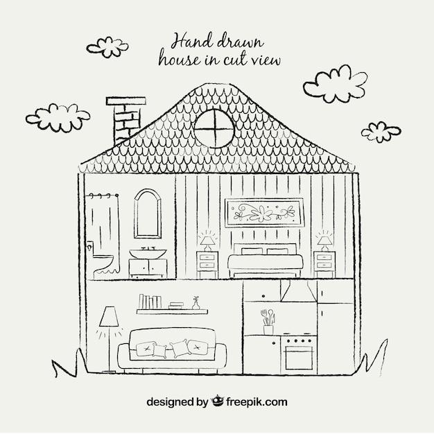 hand zeichnen haus in schnittansicht download der kostenlosen vektor. Black Bedroom Furniture Sets. Home Design Ideas