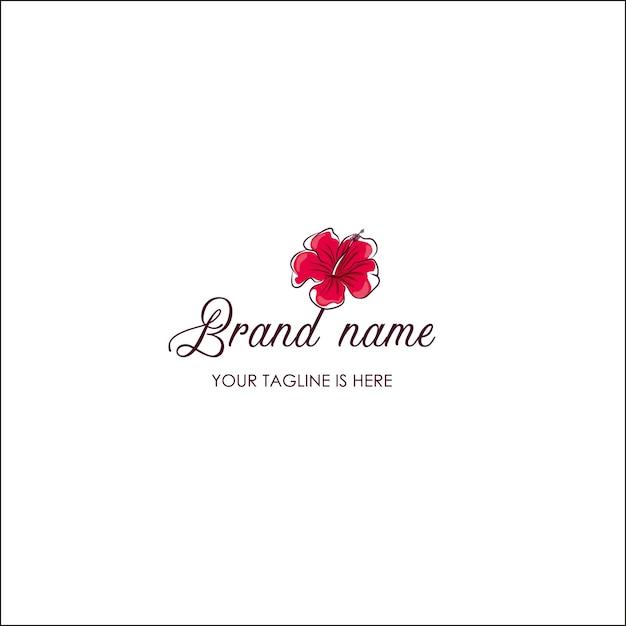 Hand zeichnen Hibiscus Flower Logo Vorlage | Download der Premium Vektor
