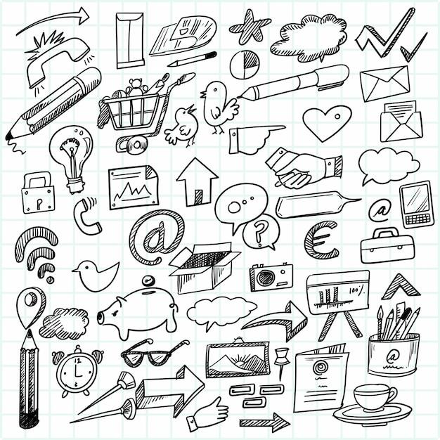 Hand zeichnen technologie skizze gekritzel set design Kostenlosen Vektoren