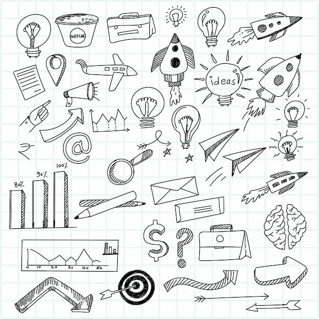 Hand zeichnen technologie skizze symbol gekritzel set design Kostenlosen Vektoren