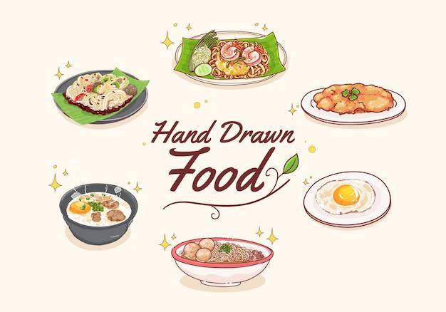 Hand zeichnen thailändisches essensset Premium Vektoren