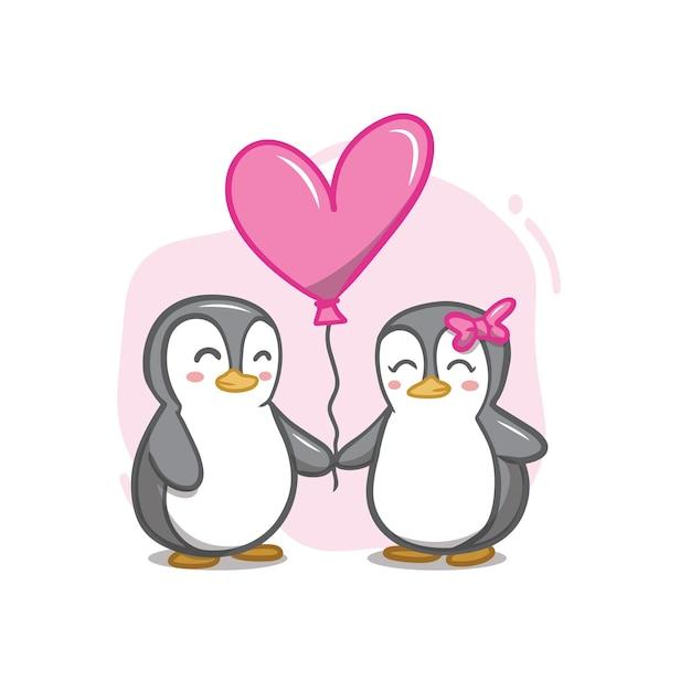 Hand zeichnen valentinstag pinguin paar Premium Vektoren