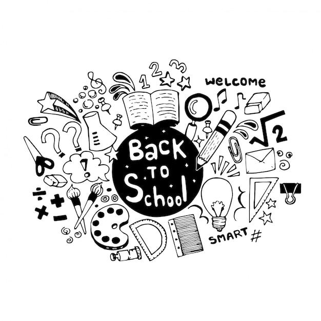 Hand zurück in die schule gezeichnet kritzeleien mit schulmaterial Premium Vektoren