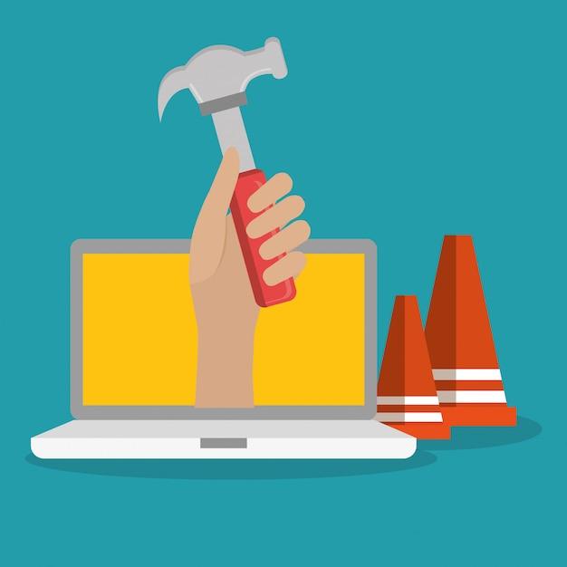 Handarbeiter im bau mit laptop Premium Vektoren