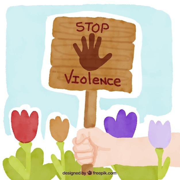 Handbemalte hintergrund der blumen und zeichen gegen gewalt Kostenlosen Vektoren