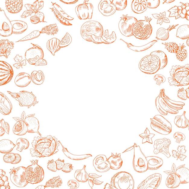 Handdrawn gekritzelobst und gemüse des vektors stellten mit rundem leerem platz für ihre textillustration ein Premium Vektoren