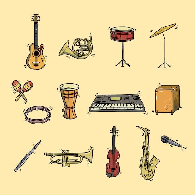 Handdrawn instrument-symbol-symbol-illustrations-satz Premium Vektoren