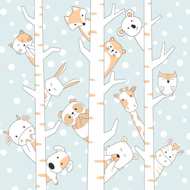 Handdrawn nette tier-karikatur mit schnee und baum Premium Vektoren