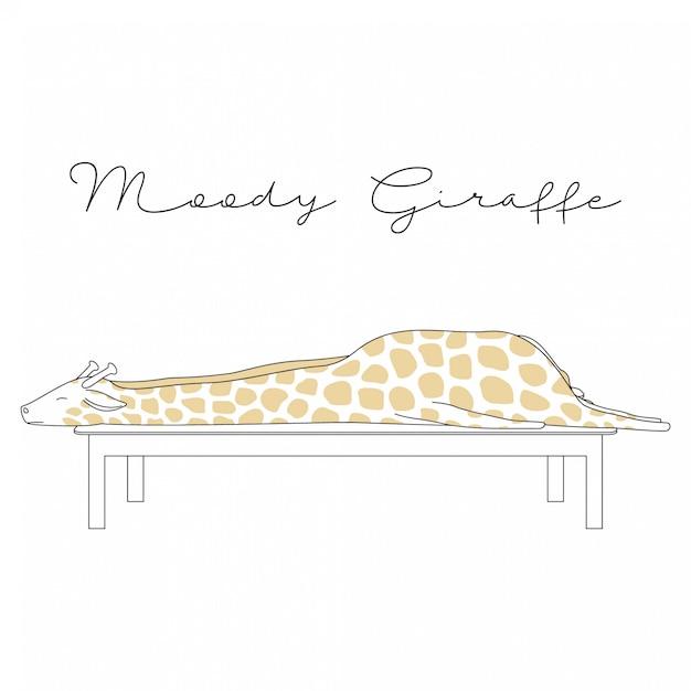 Handdrawn nette tiere-schwermütige giraffen-karikatur Premium Vektoren