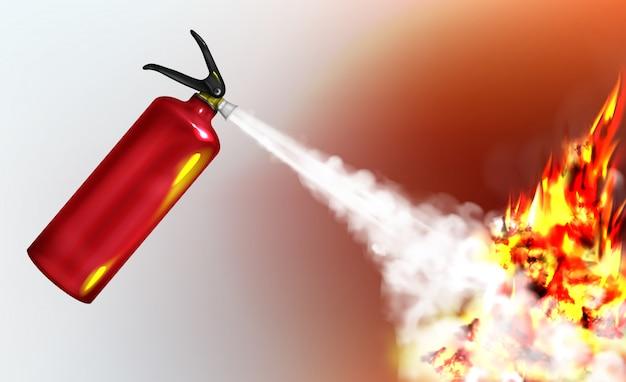 Handdruck-feuerlöscher zum sprühen von feuerlöschmitteln Kostenlosen Vektoren