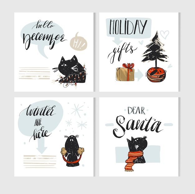 Handgemachte frohe weihnachten grußkarte mit niedlichen weihnachtsfiguren der schwarzen katzen in winterkleidung und modernen weihnachtskalligraphiephasen isoliert Premium Vektoren