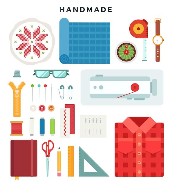 Handgemachte konzeptillustration. werkzeuge und materialien nähen und handarbeiten Premium Vektoren